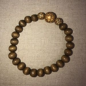 Stella & Dot Prosper Wood Bead Stretch Bracelet